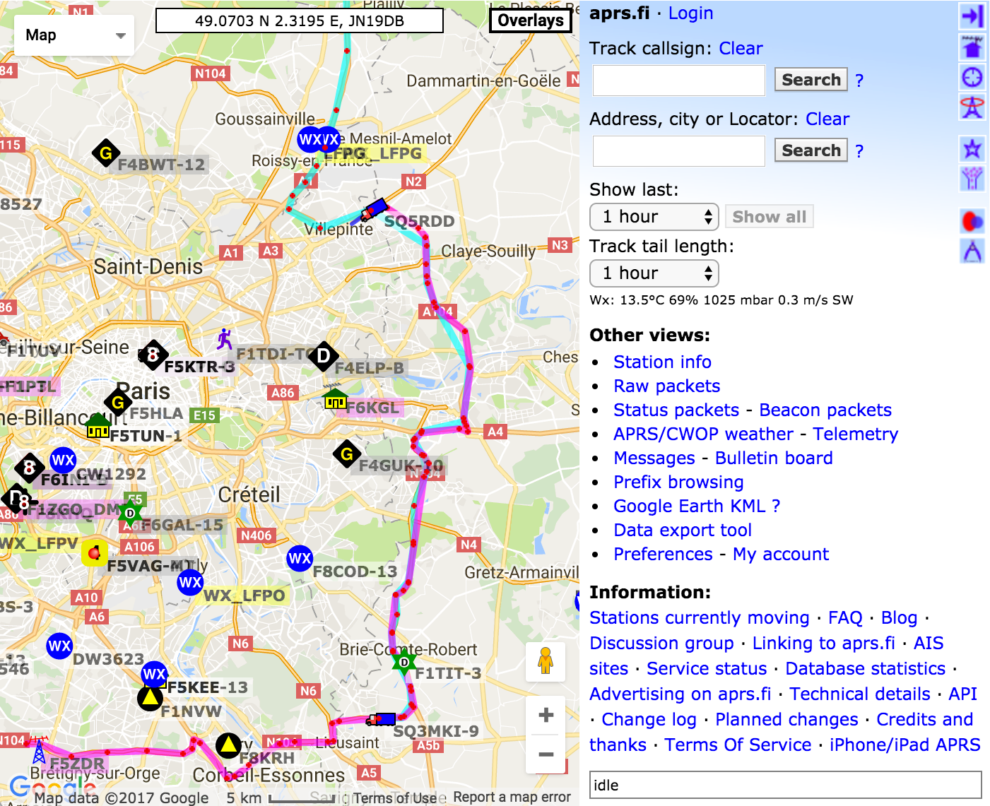 Aprs.fi Real-time map on